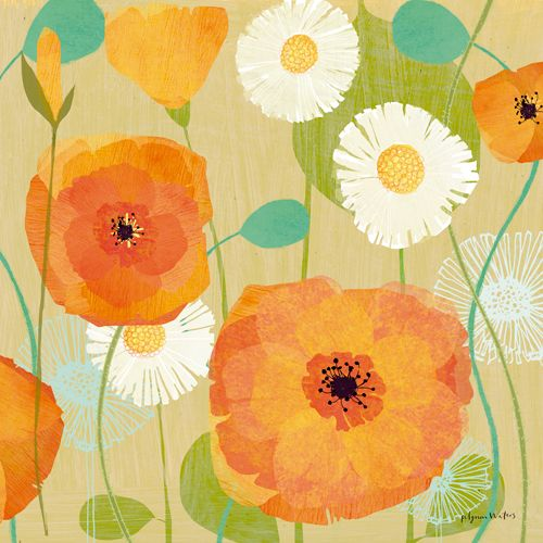 Daisies and Poppies I de Susy Pilgrim Waters