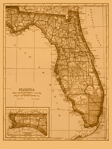 Adam Shaw Cartography Vintage Florida Map