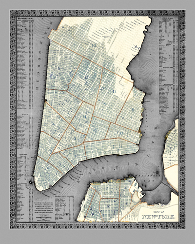 Adam Shaw Cartography Vintage Gray Nyc Map