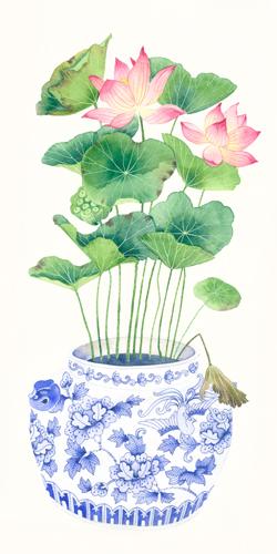 Gabby Malpas Blue Porcelain Lotus