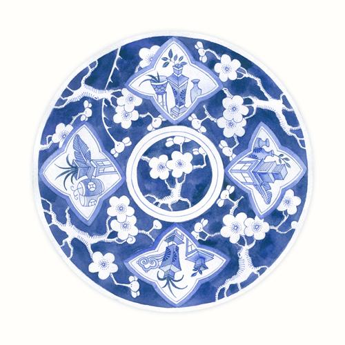 Gabby Malpas Blue Porcelain Plate 3