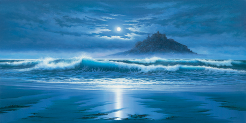 John F Sim Moonlit St Michaels Mount