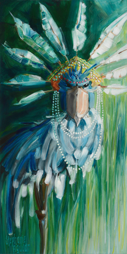 Stephanie Aguilar Stork With Feathered Crown