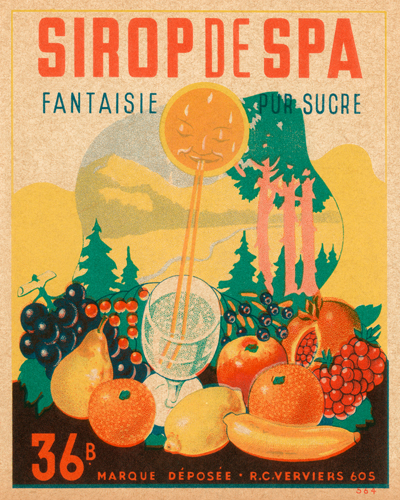 Vintage Booze Labels Sirop Da Spa
