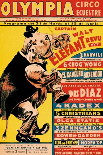 Vintage Elephant Olympia Circo Ecuestre Olympia Circus